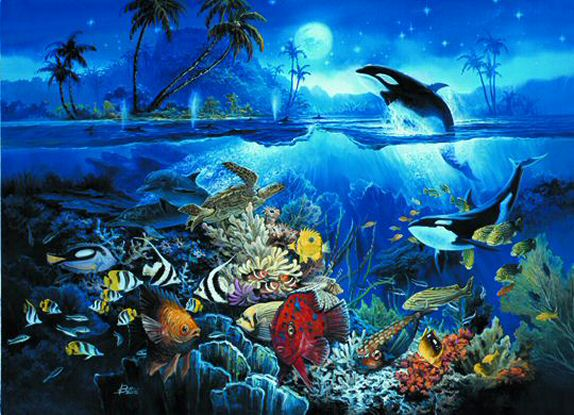 Undersea paradise dolphin wall mural for Dolphin paradise wall mural