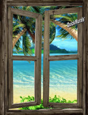 beach cabin window mural 7