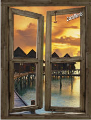 beach resort sunset  window mural