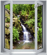 black forest waterfall window mural
