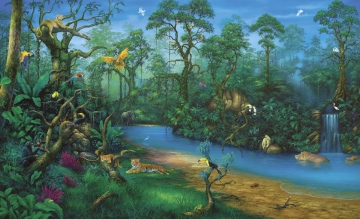 Jungle dreams wall mural children 39 s wall murals jungle for Environmental graphics giant world map wall mural