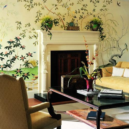Oriental garden scene wall mural ur2043m by york for Asian mural wallpaper