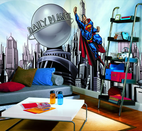 Superman Cityscape Wall Mural roomsetting