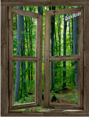 woodland cabin window mural