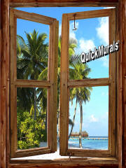 beach cabin window mural
