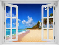 African Beach Instant Window Mural