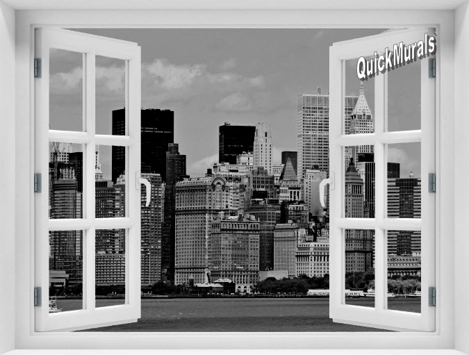 New York City #2 Black and White Instant Window Mural